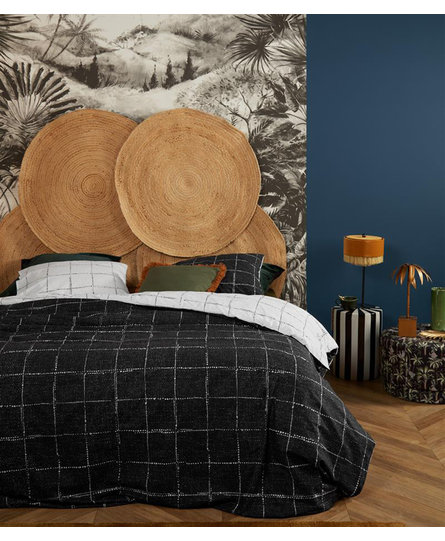 At Home by BeddingHouse Checked Dekbedovertrek - Zwart Wit