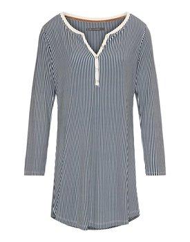 Essenza Acacia Striped Nightdress long sleeve – Indigo blue