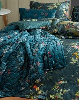 Pip Studio Leafy Stitch Velvet Quilt - Blauw