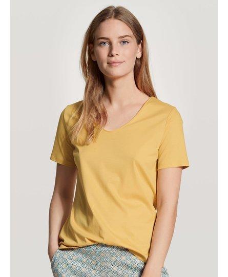 Calida dames pyjamatop kort 14051 sunny yellow