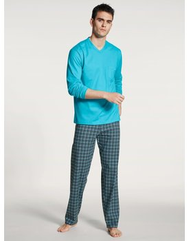 Calida herenpyjama 40667 lang button blue