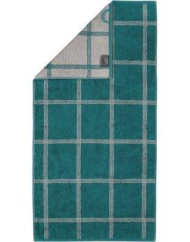 Cawo Two-Tone Grafik Handdoek  Smaragd 50x100