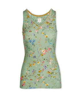Pip Studio Tessy Sleeveless Top Petites Fleurs Green XL