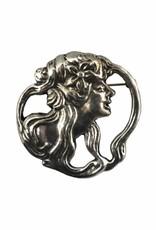 DTR Brooch Art Nouveau woman Mucha