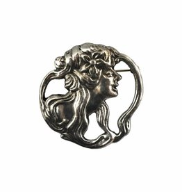 DTR Brooch Art Nouveau woman Mucha