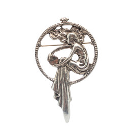 DTR Brooch Art Nouveau woman dress