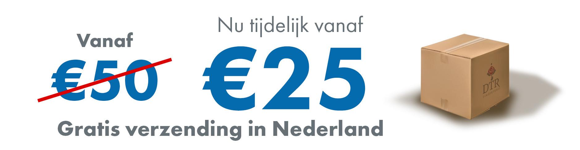 Tijdelijk gratis verzendkosten vanaf 25 euro