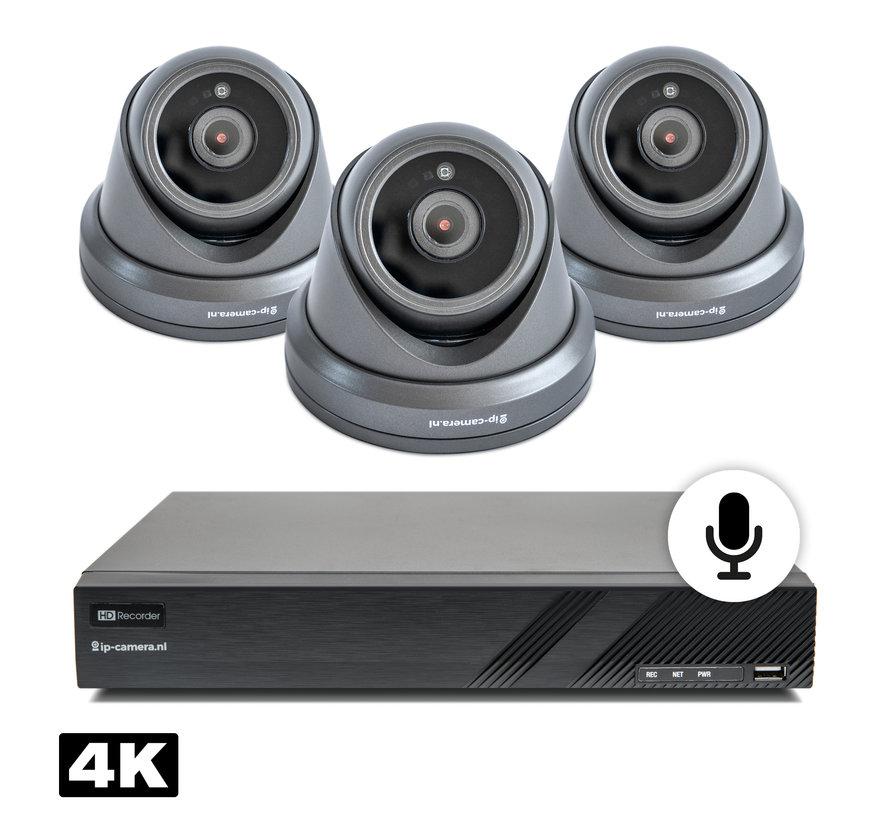 4K Beveiligingscamera set dome zwart met Sony 8MP Cmos en microfoon