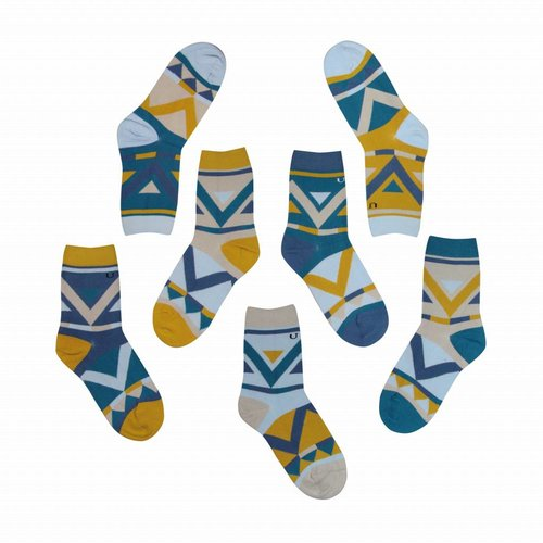 Solosocks Different but matching socks in decent azure, citrine and silver nuances.
