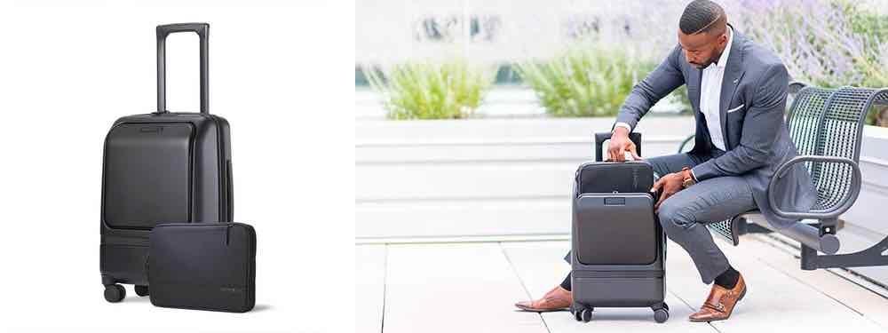 Verwenden Sie den NOMATIC Carry on Pro während des Eincheckens vor dem Flug