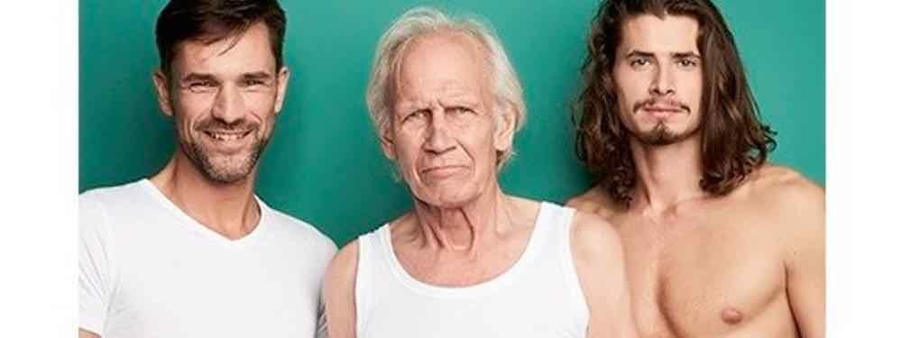3 Mannen van verschillende leeftijd met Ten Cate ondergoed
