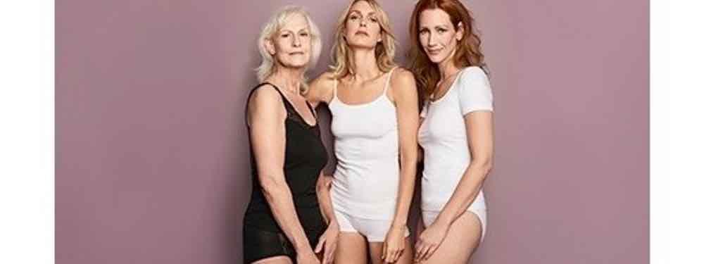 3 vrouwen van verschillende leeftijd met Ten Cate ondergoed