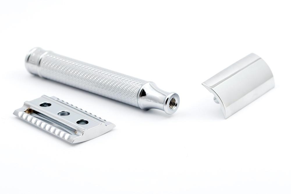 De onderdelen van een Safety razor of veiligheidsscheermes