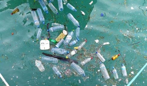Veel drinkflessen eindigen in de oceaan en vormen een plastic soep