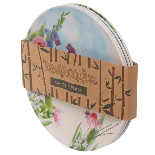 Bambootique Herbruikbaar bord van Bamboe - Set van 4 borden