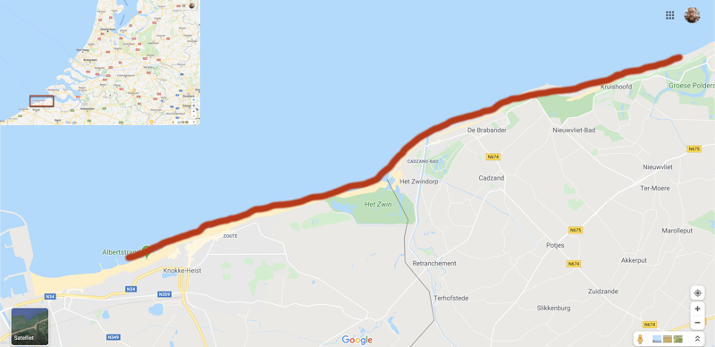 Kaart waar je in Nederland en België haaientanden kunt vinden