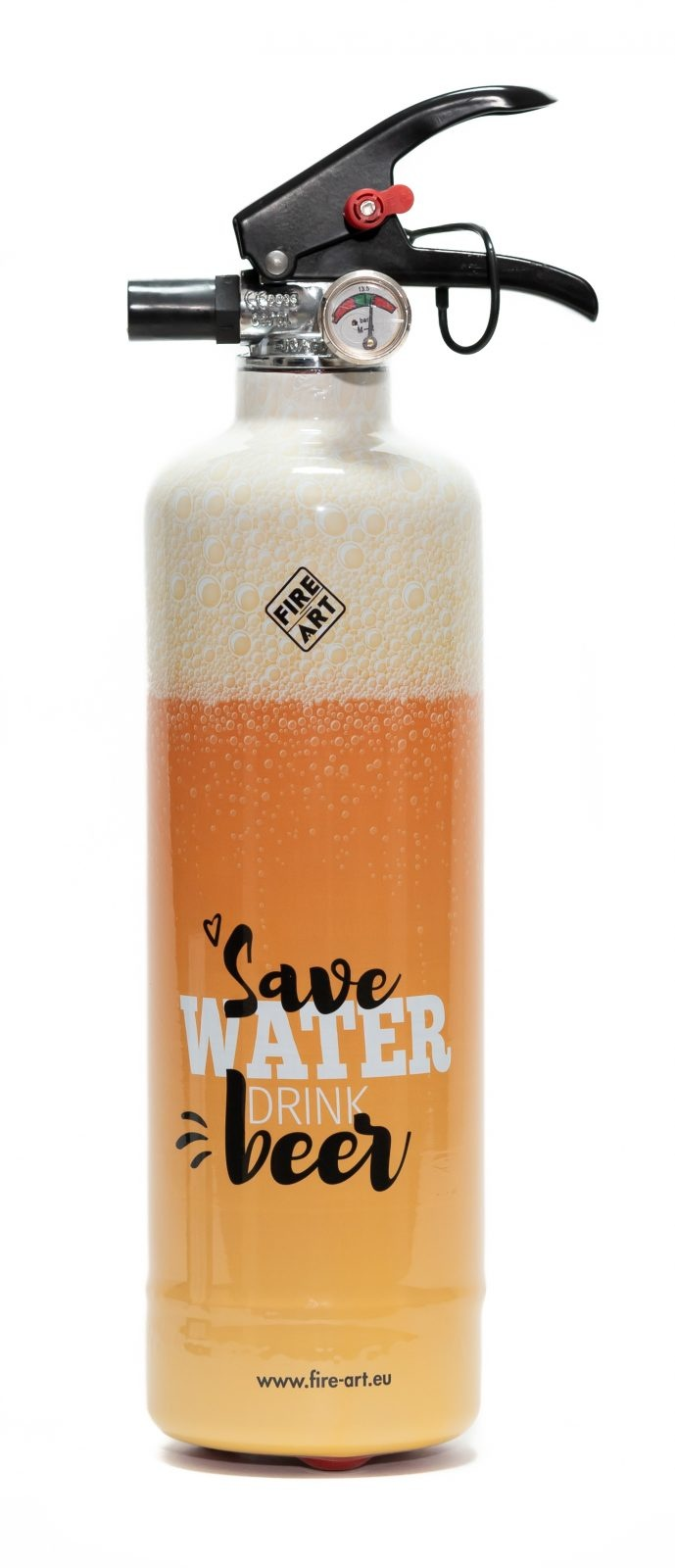 Fire Art Save Water Drink beer brandblusser