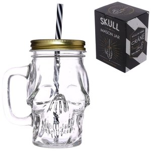 Novus Fumus Skull Shaped Glass Drinking Jar with Straw