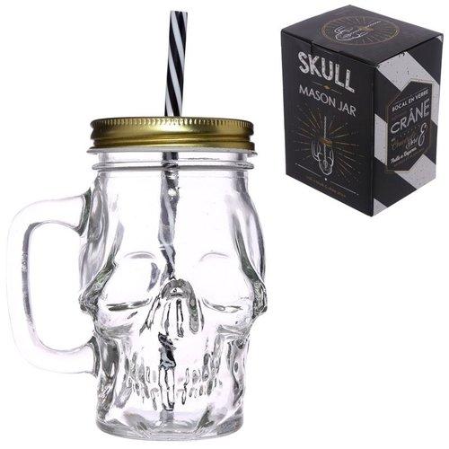 Novus Fumus Schedelvormige glazen drinkbeker met rietje