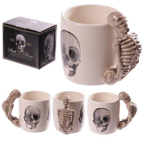 Novus Fumus Porseleinen mok met schedels of skelet handvat