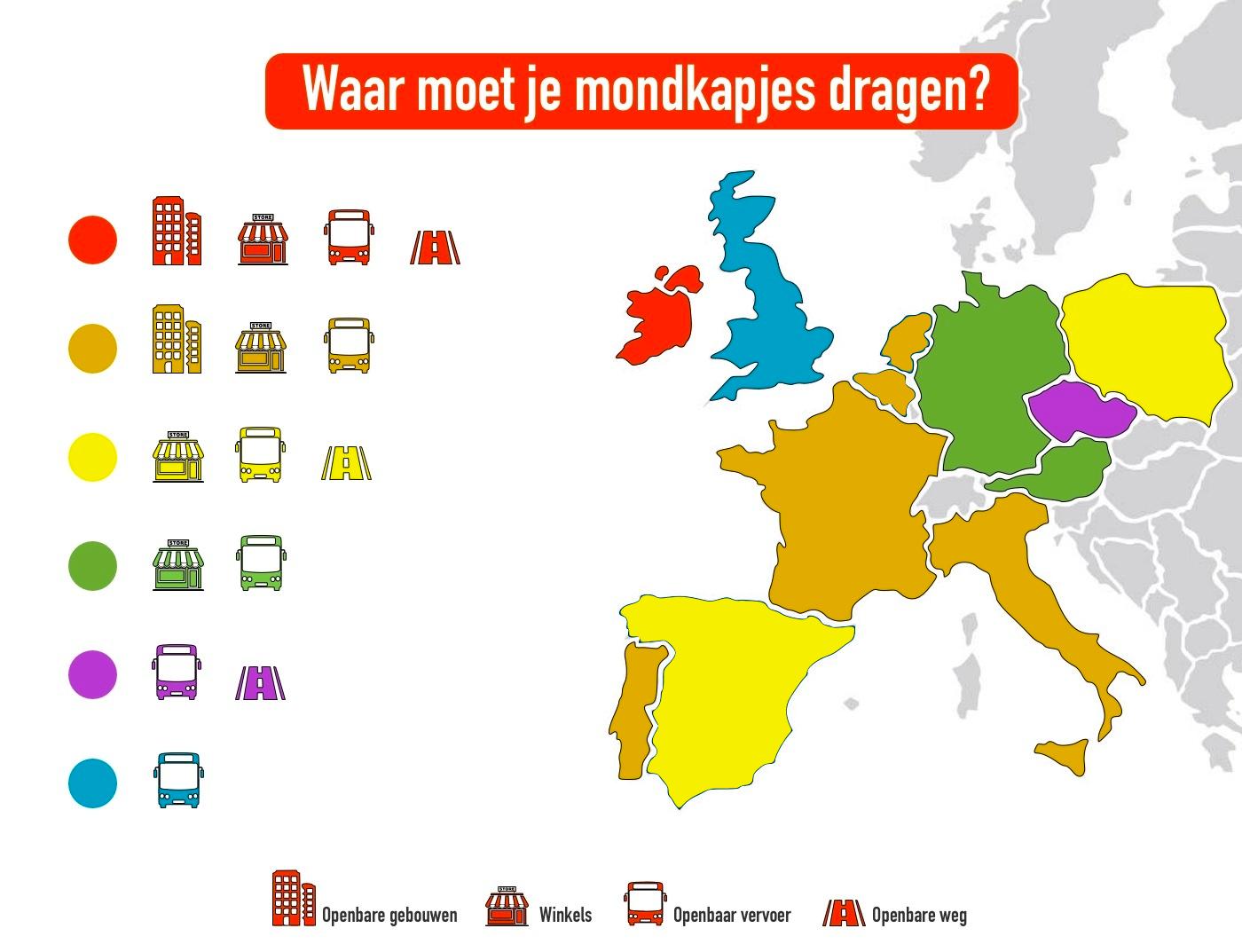 Kaart met overzicht waar mondkapjes verplicht zijn in Europa