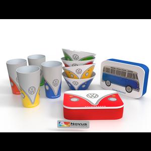Volkswagen Mittagsset - 4 Tassen, 4 Schalen, 2 Brotdosen - Bambus