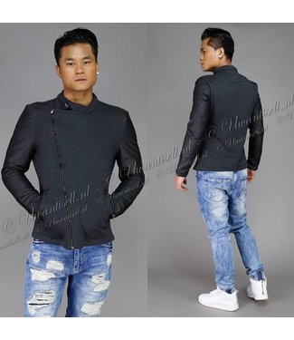 !SALE Trendy Jacket met Lederlook Mouwen Grijs