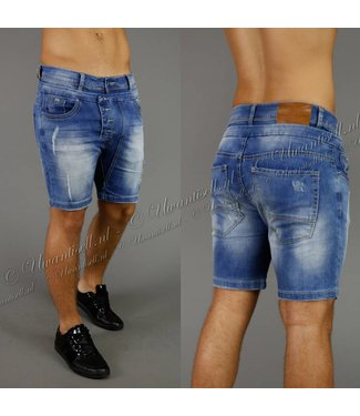 !OP=OP Damaged-Look Dark Washed Jeans Shorts