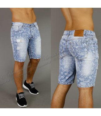 !SALE70 Damaged Heren Jeans Short met Bloemenprint