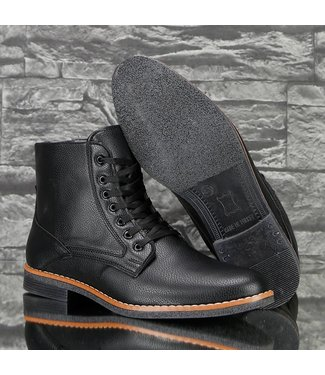 !SALE Trendy Lederlook Heren Boots Zwart