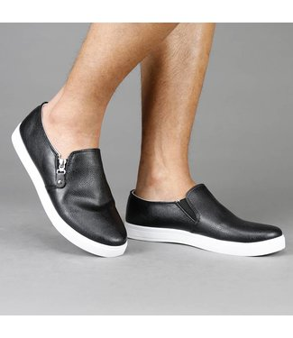 !SALE Zwarte Lederlook Slip-On Heren Sneaker met Rits
