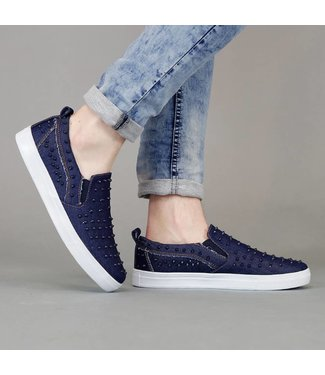 !SALE70 Blauwe Jeans Slip-On Heren Sneakers met Studs