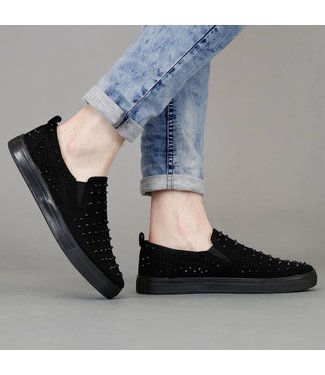 !SALE70 Zwarte Jeans Slip-On Heren Sneakers met Studs