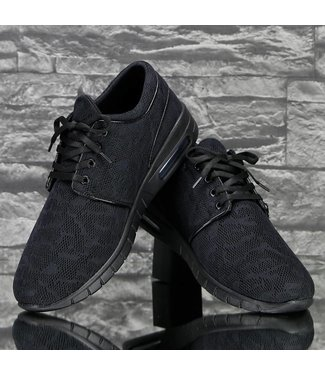 !SALE Zwarte Lage Heren Sneaker met Print