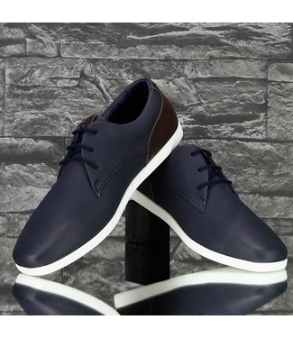 !SALE Trendy Lage Lederlook Sneakers Navy