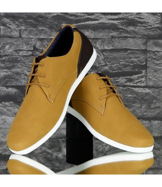 !SALE Trendy Lage Lederlook Sneakers Camel