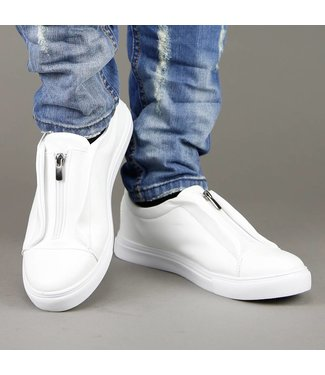!SALE Witte Lederlook Slip-On Heren Sneakers