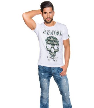 !SALE Hardcore Army Heren T-Shirt Wit