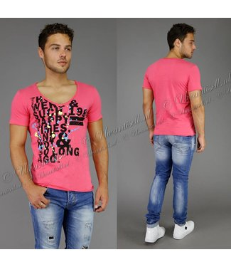 !SALE Splattered T-Shirt met Tekst Roze