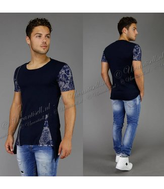 !SALE70 Navy Heren T-Shirt met Rits en Bloemenprint