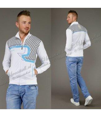 !SALE Wit Heren Vest met Blauwe Details