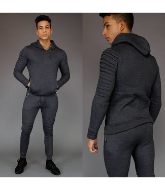 Fashion Ribbed Joggingpak met Capuchon Antraciet