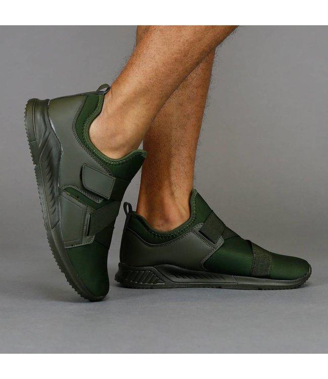 Trendy Groene Neopreen Instap Sneakers