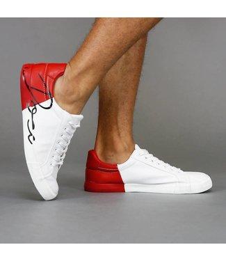 Lage Rode Duo-Color Lederlook Sneakers