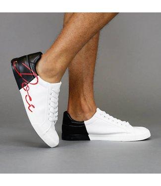 Lage Zwarte Duo-Color Lederlook Heren Sneakers