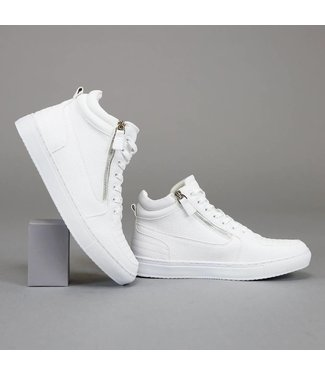 . Trendy Hoge Witte Heren Sneakers met Ritsen