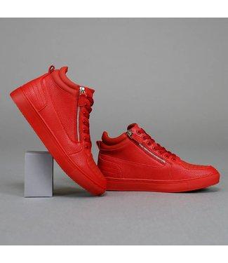 . Trendy Hoge Rode Heren Sneakers met Ritsen