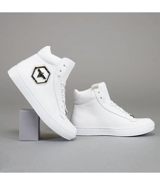 Basic Hoge Witte Heren Sneakers met Embleem