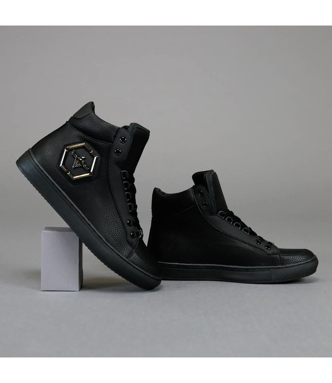 Basic Hoge Zwarte Sneakers met Embleem