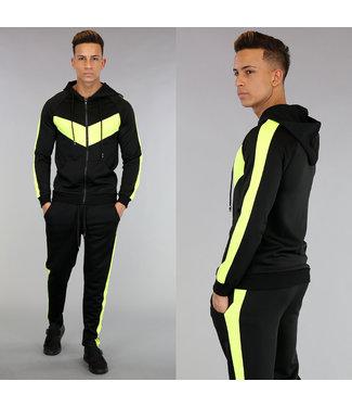 Zwart Joggingpak met Neon Gele Details